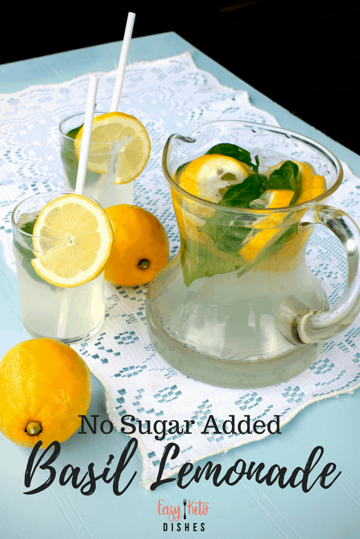 Quench your thirst without the added sugar or carbs with this tangy, sweet, basil lemonade! Get the easy to make recipe here! www.easyketodishes.com