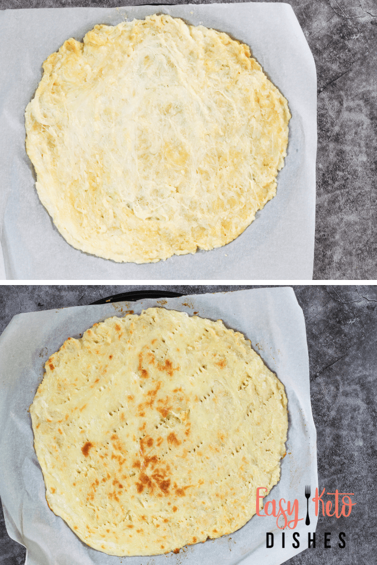 keto pizza crust, precooked and after baking
