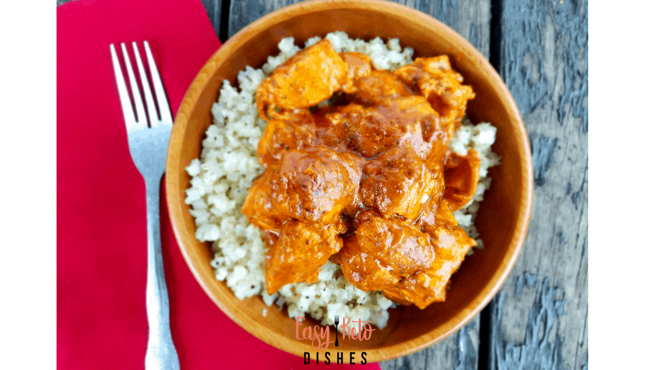 Make a delicious Indian food inspired butter chicken dish that is perfect for keto or low carb diets! One pan simple in your instant pot, too! www.easyketodishes.com