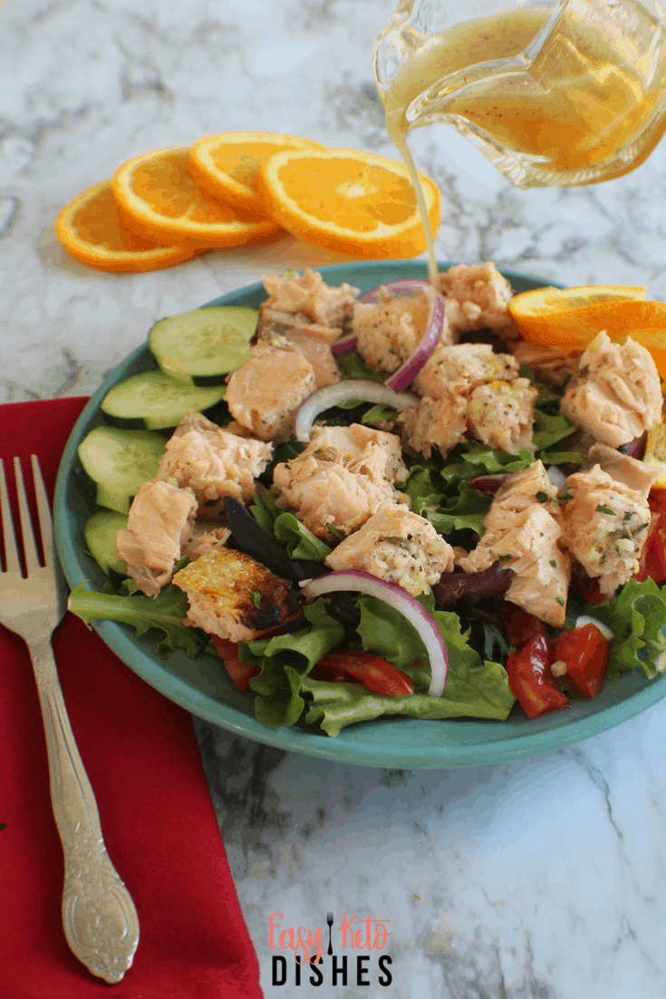 Refreshing, light, cold salmon salad pairs well with a tangy citrus vinaigrette. Try this low carb, keto friendly salad for a change of pace from heavier meals!