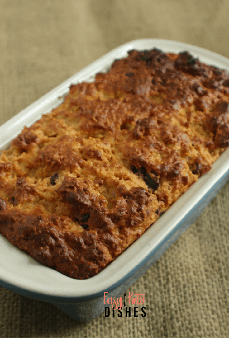 Need a snack or on the run breakfast? This peanut butter chocolate chip keto quick bread is a great option to make ahead and take on the go!