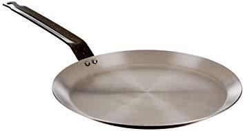 "Paderno World Cuisine Blue Carbon Steel Crepe Pan/10 1/4"" Induction Ready Pancake Pan"