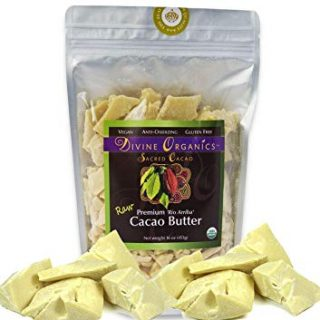 Divine Organics Raw Cacao Butter/Cocoa Butter - Certified Organic - Food Grade - Edible - Fragrant, Natural Skin Moisturizer (16 oz)