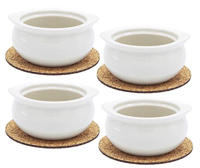 Premium Onion Soup Bowls - White Porcelain 12 Ounce Crock - Set of 4 with Cork Coasters