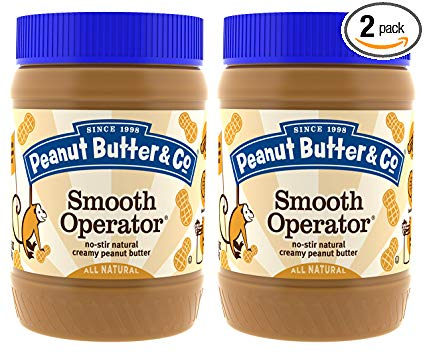 Peanut Butter & Co. Non-GMO, Gluten Free, Vegan Peanut Butter, Smooth Operator, 16 Ounce Jars (Pack of 2)
