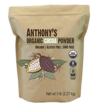 Organic Cocoa Powder (5 pounds) by Anthony's, Batch Tested and Verified Gluten-Free & Non-GMO
