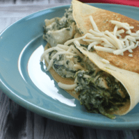 Chicken, Spinach and Cheese Stuffed Crepes (low carb, keto friendly)