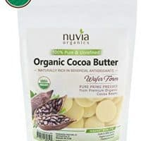 Nuvia Organics Cocoa Butter - 100% USDA Certified Organic, Raw Unrefined Pressed Wafers, Food Grade, Edible, Keto, Vegan; 8oz