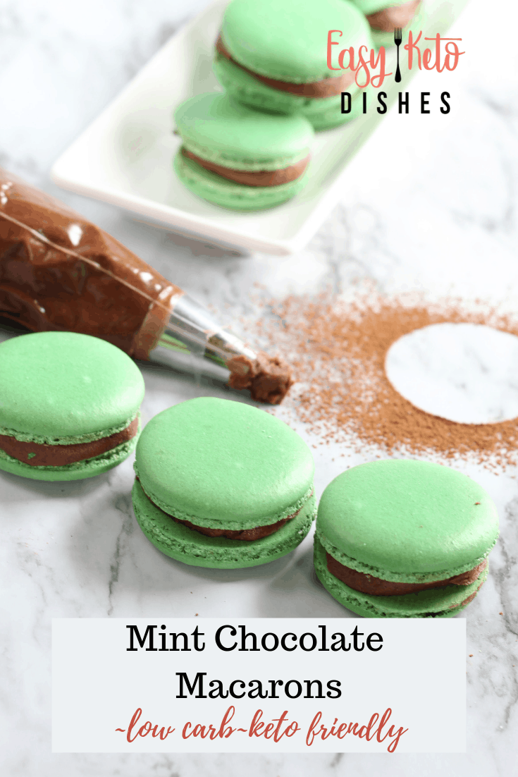 keto mint chocolate macarons