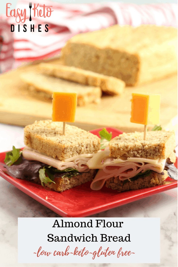 turkey swiss sandwich with cheese toothpicks on almond keto bread