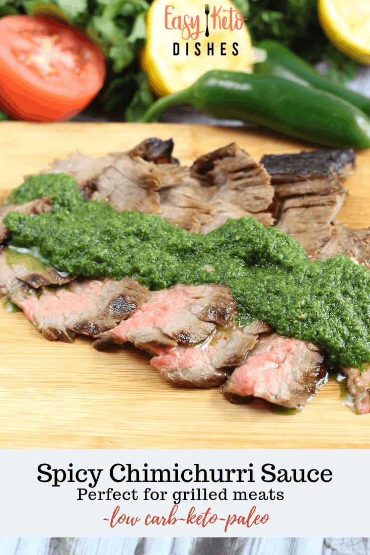 chimichurri sauce on skirt steak
