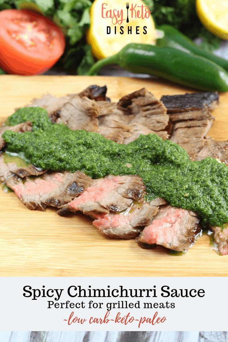 chimichurri sauce on skirt steak