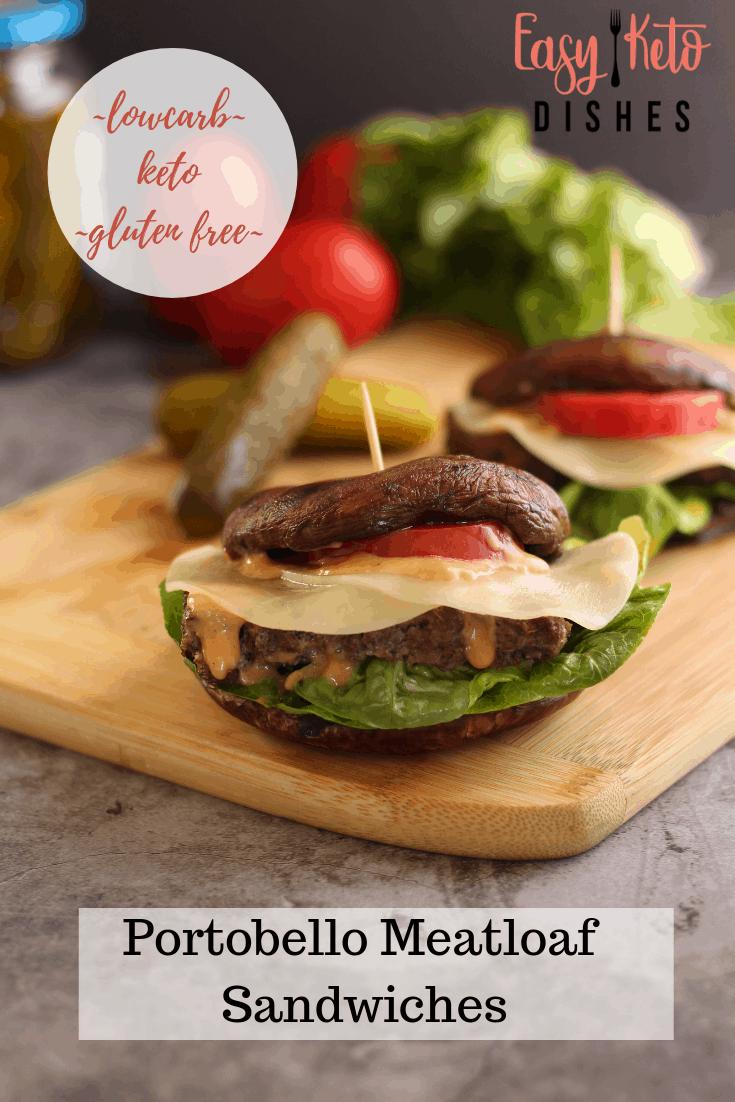 portobello mushroom meatloaf sandwich on cutting board