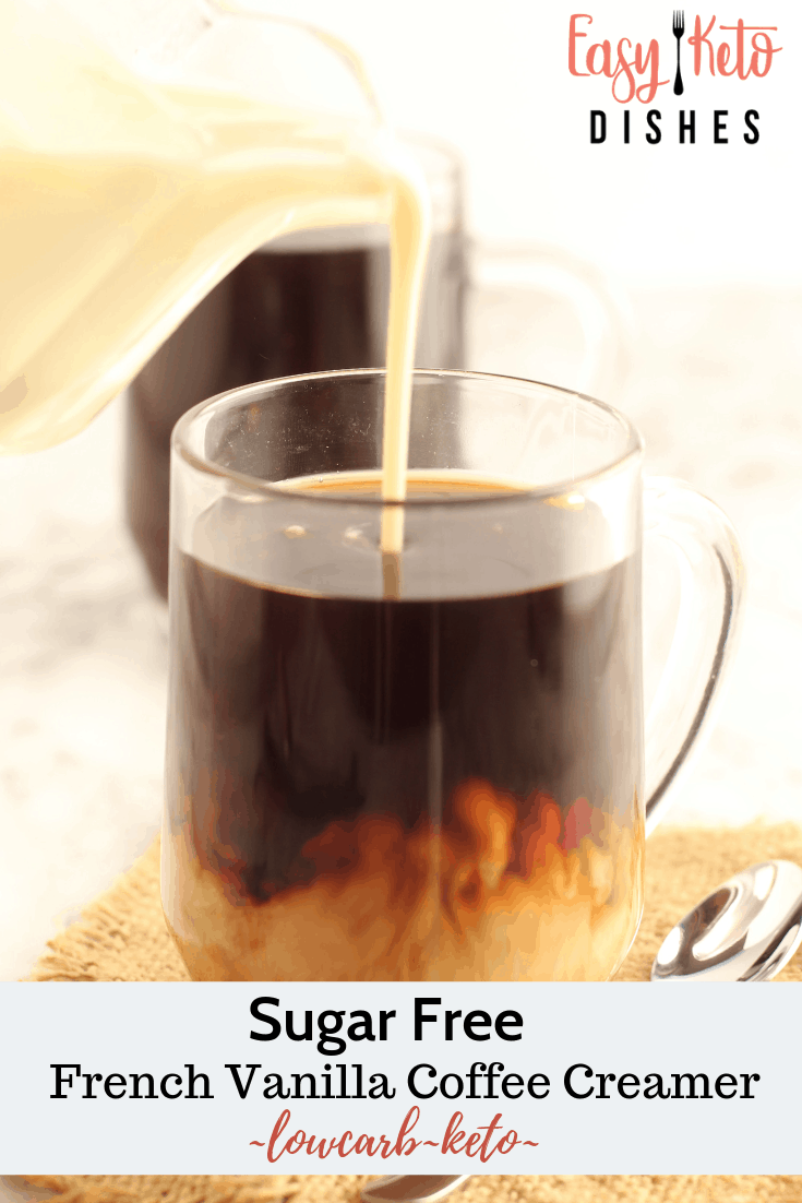 homemade french vanilla pouring into coffee