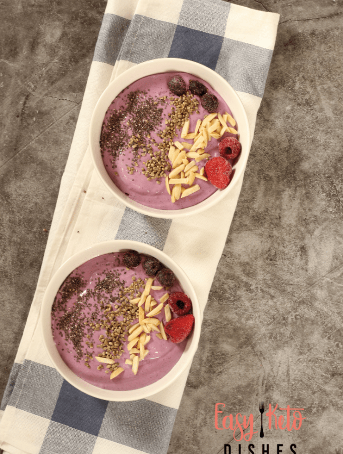 protein packed keto smoothie bowl with toppings