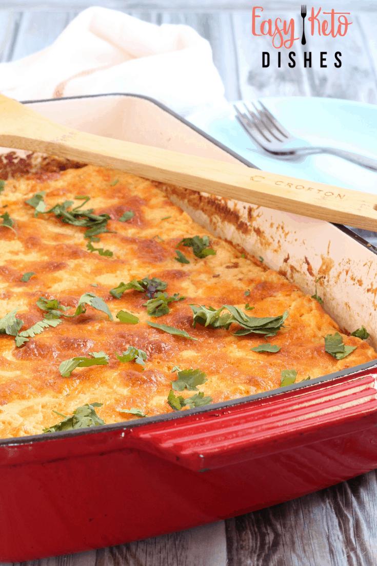 spaghetti squash hashbrown casserole in cast iron baking dish