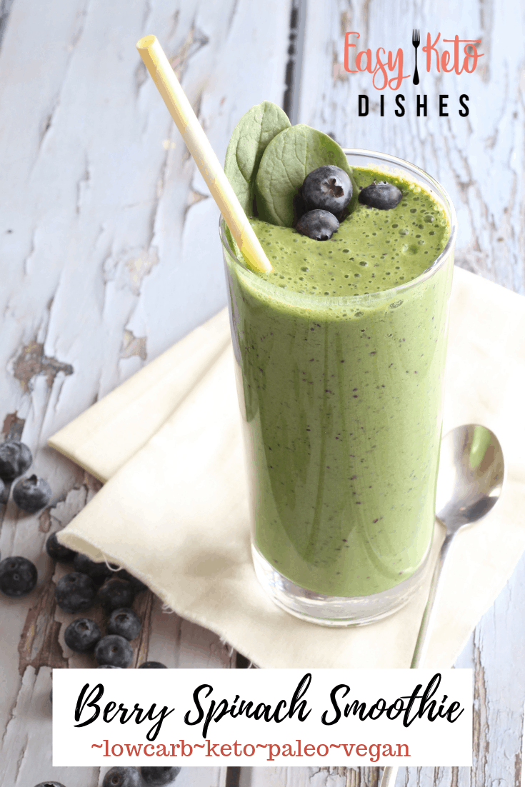 berry spinach smoothie in tall glass