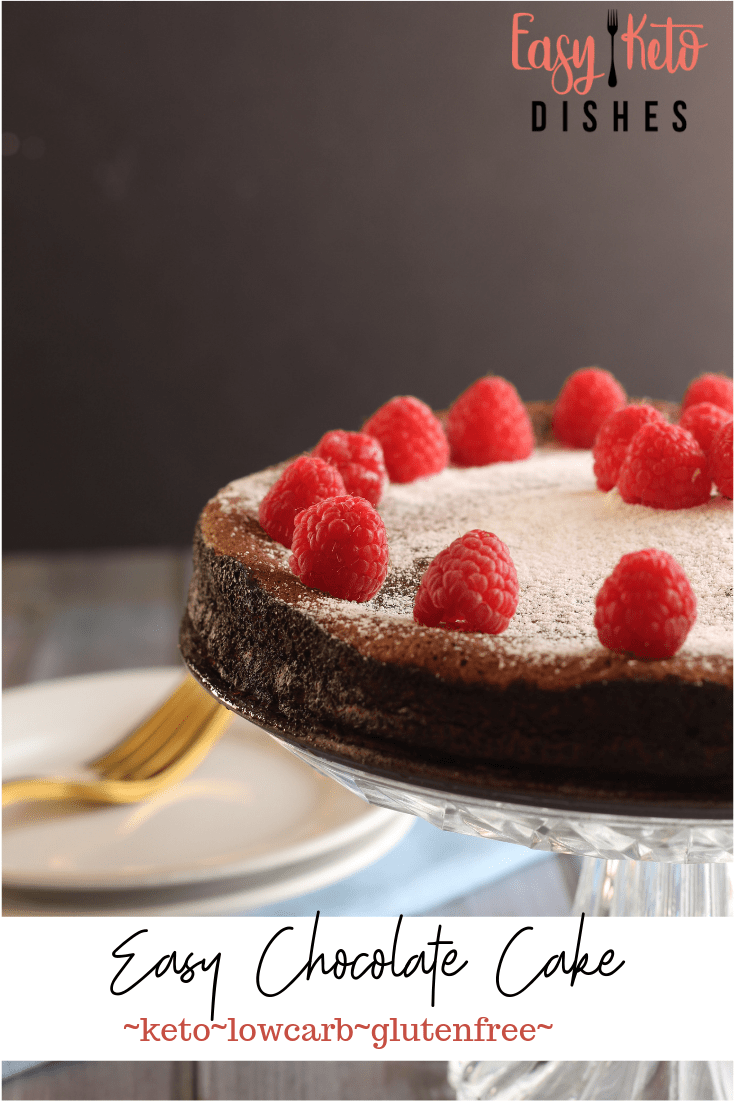 low carb chocolate cake with plates off to the side