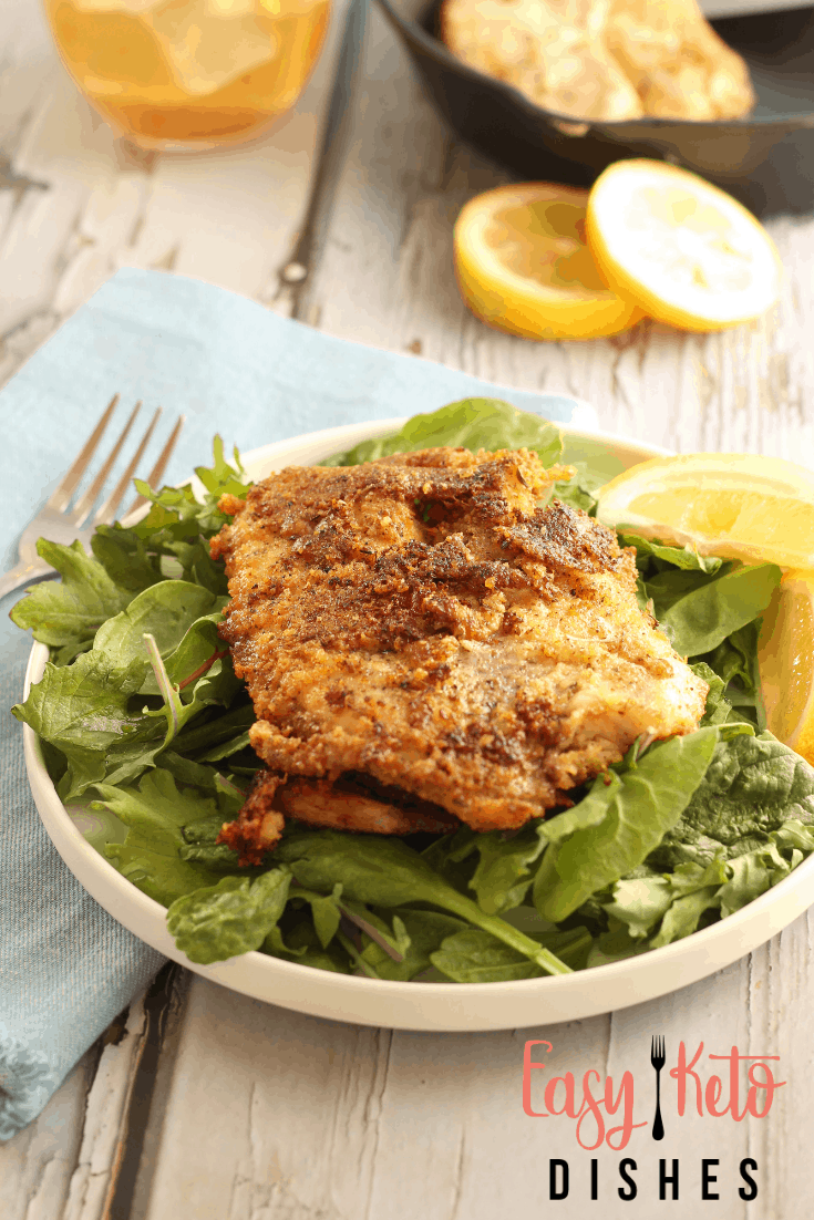 parmesan crusted pan fried tilapia on bed of mixed greens