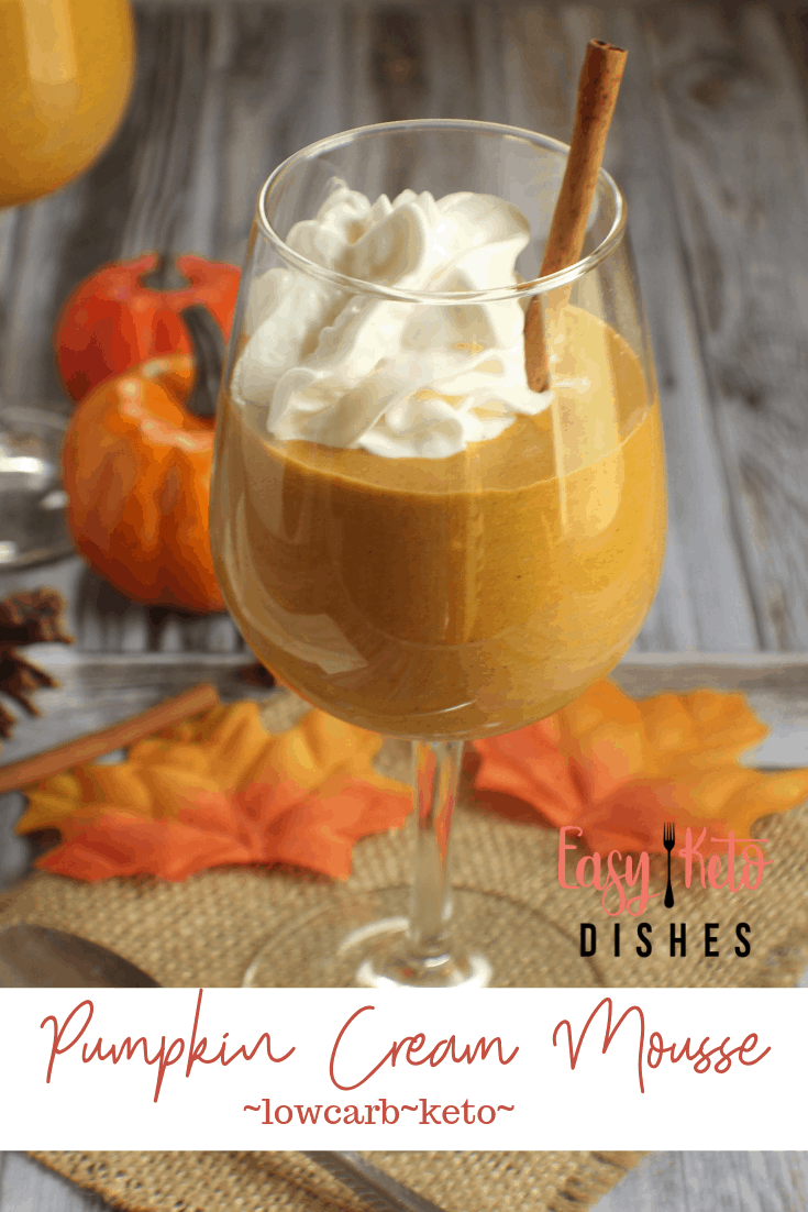 pumpkin cream mousse in wine glass with whipped cream and cinnamon stick