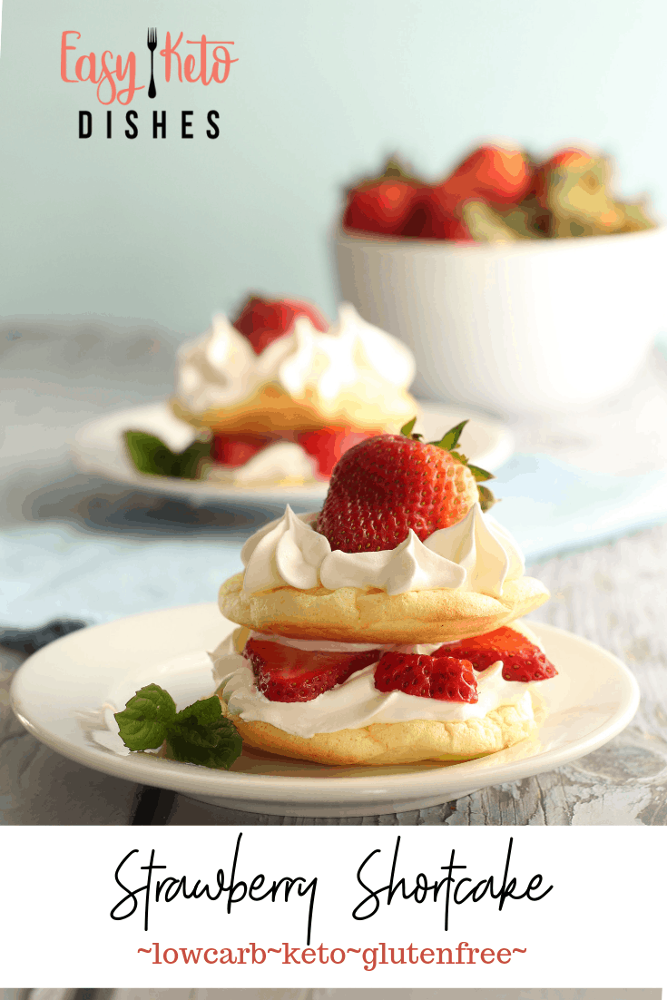 low carb strawberry shortcake on white plate