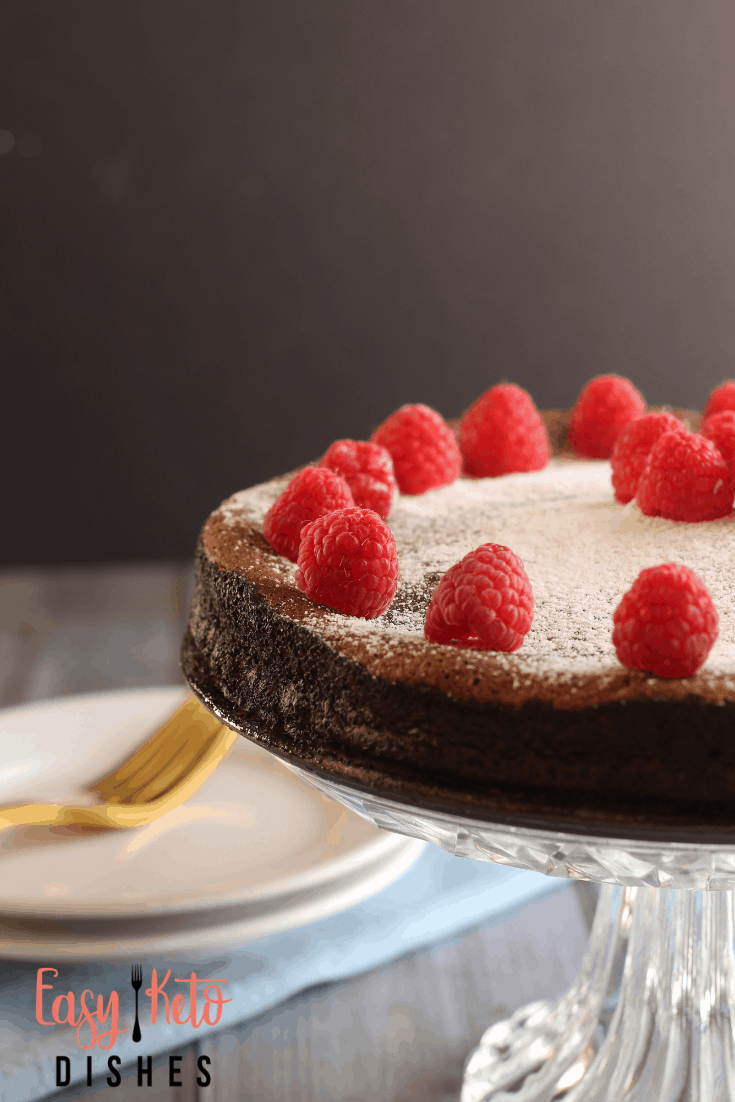 chocolate cake on stand with raspberries on tip