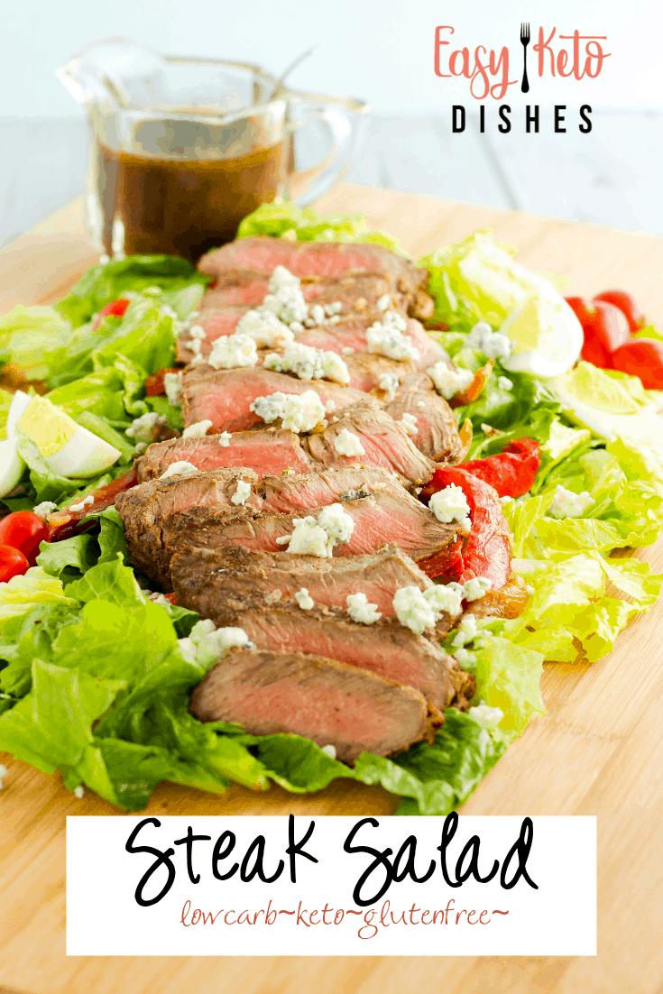 ribeye steak salad on cutting board