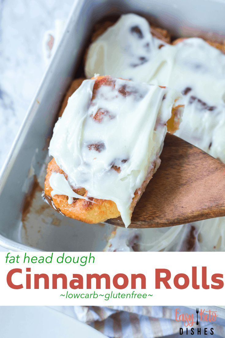 keto cinnamon roll on wooden spoon
