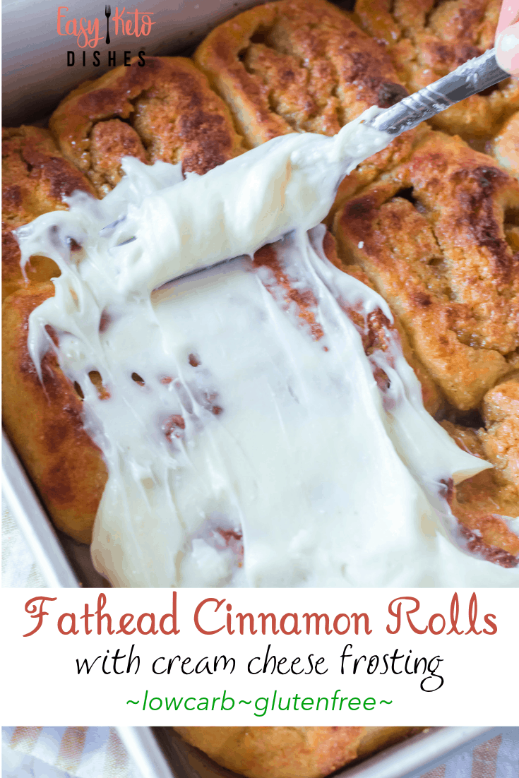low carb cinnamon rolls with cream cheese frosting being spread