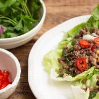 Asian Inspired Spicy Ground Beef Lettuce Wraps