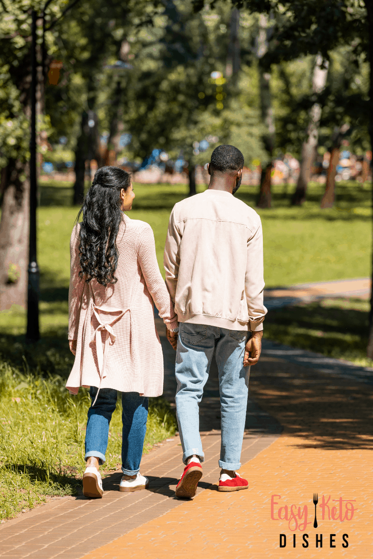 rear view of couple walking