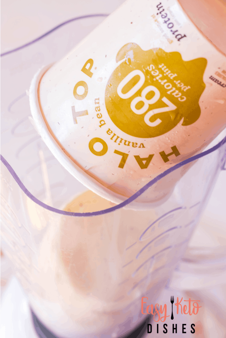 halo top ice cream being poured into blender