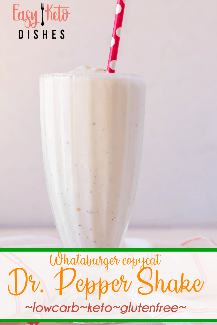 keto milkshake in glass with red straw