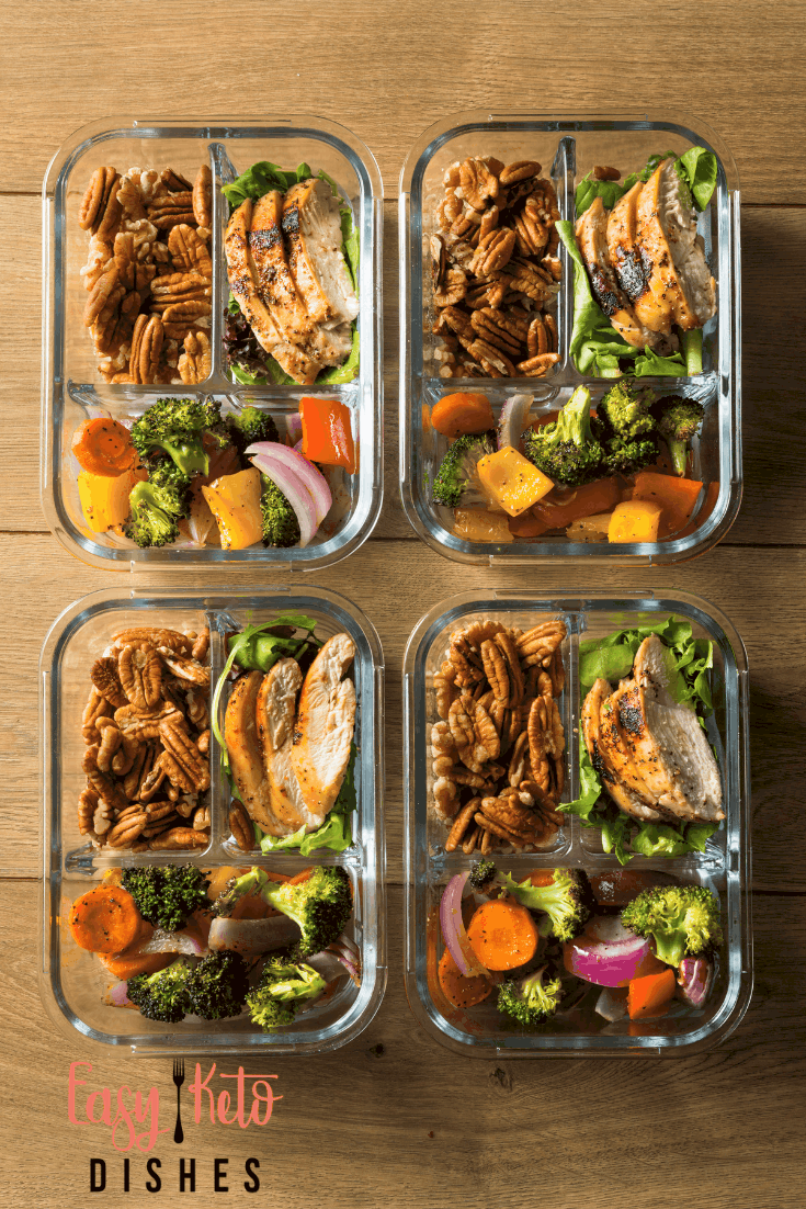 keto meal prep in glass containers