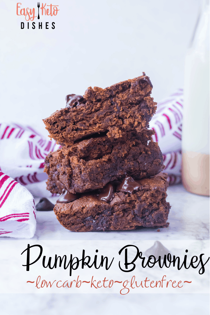 3 keto pumpkin chocolate chip brownies stacked