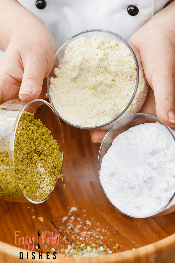 different keto flours in glass containers