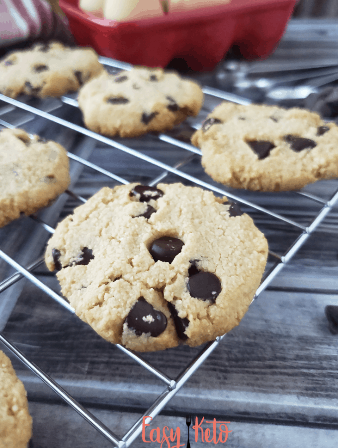 keto chocolate chip cookies on cooling rack