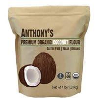 Anthony's Organic Coconut Flour, 4lbs, Batch Tested Gluten Free, Non GMO, Vegan, Keto Friendly