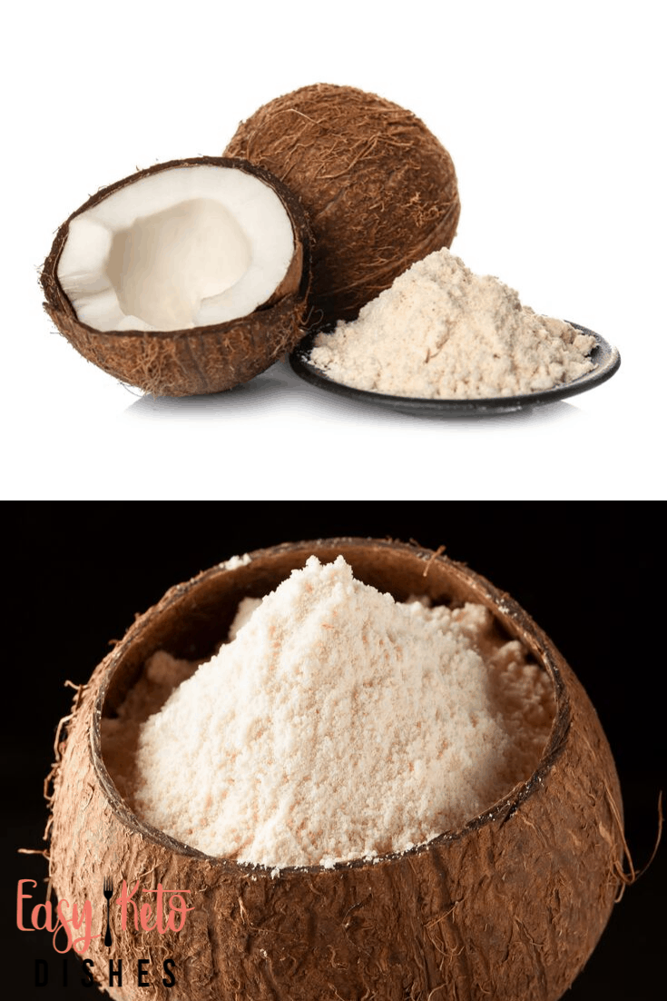 coconut flour on a plate and coconut flour in a coconut shell