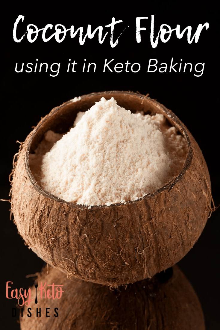 coconut flour in a coconut shell