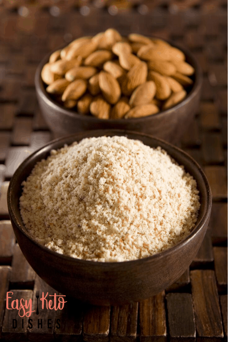 fine almond flour and almonds in bowls