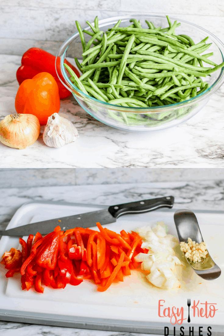 green beans, garlic, peppers