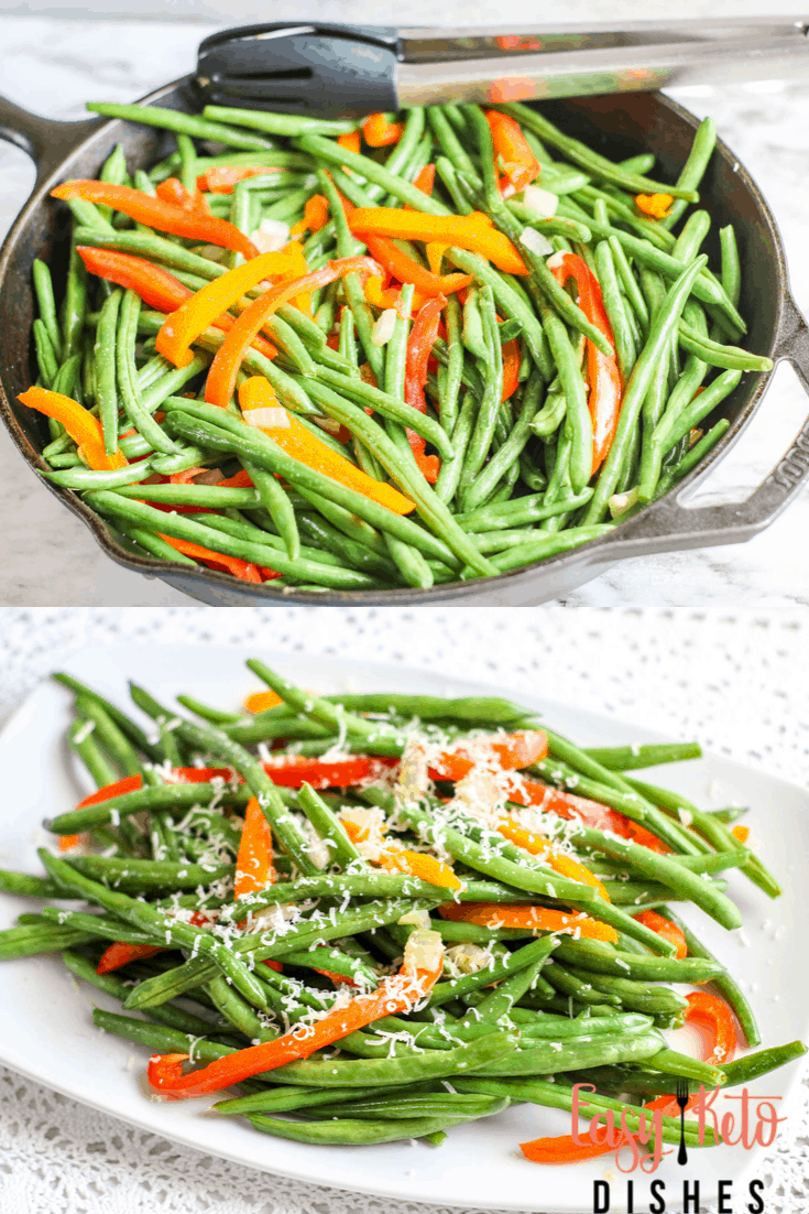 green beans and peppers in cast iron skillet, also on white plate
