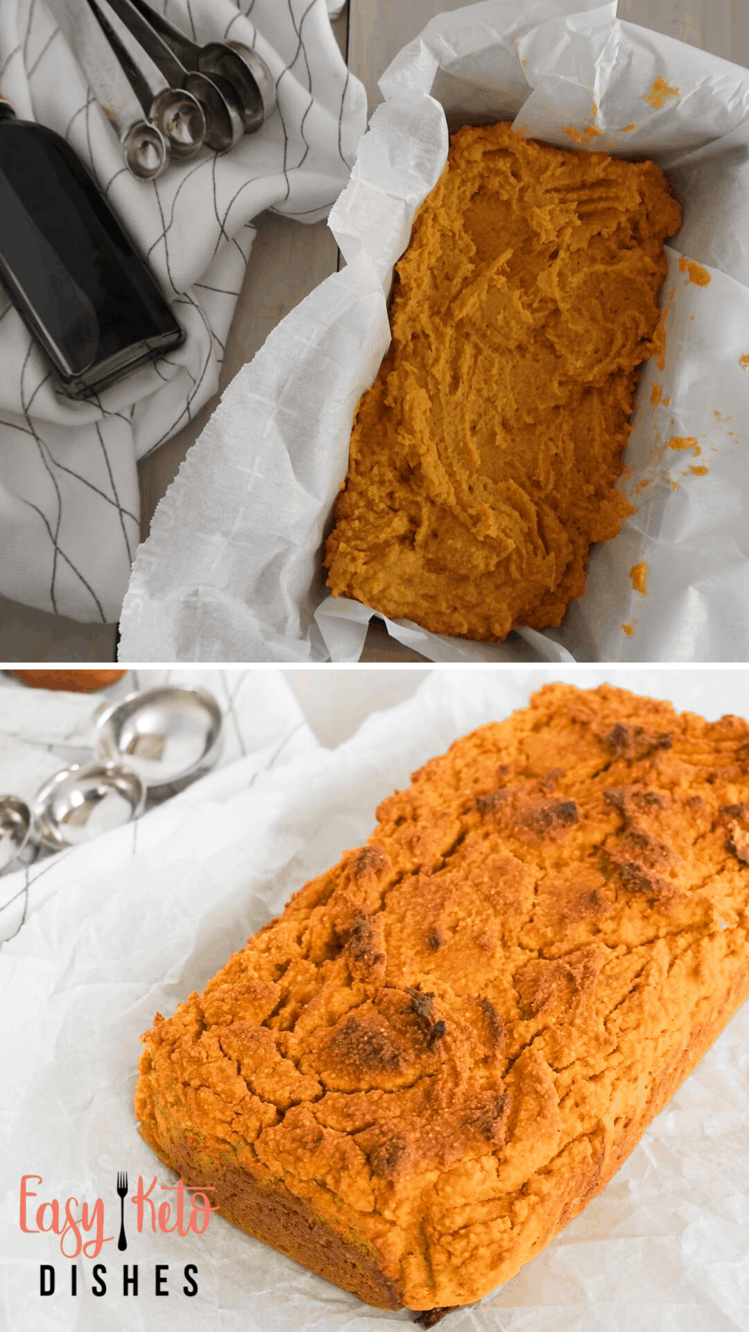 prebaked and baked pumpkin bread