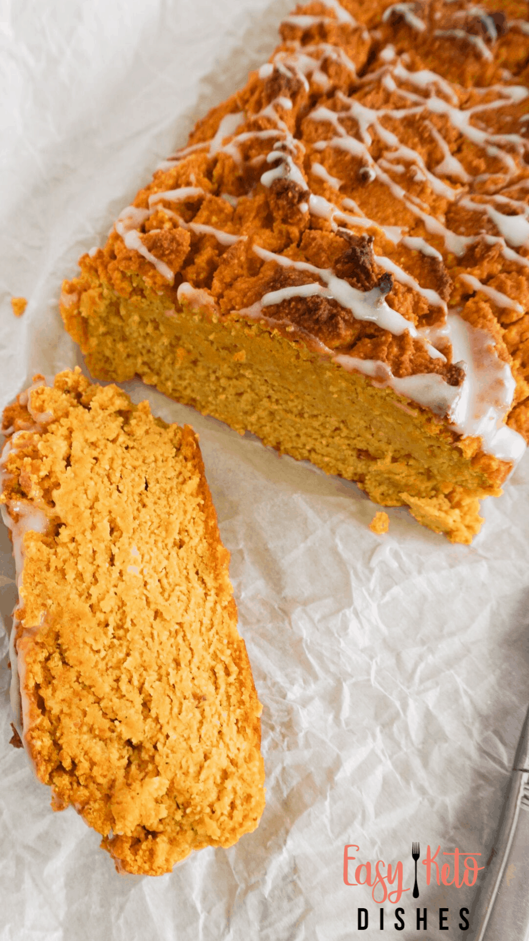 low carb pumpkin bread with drizzled frosting