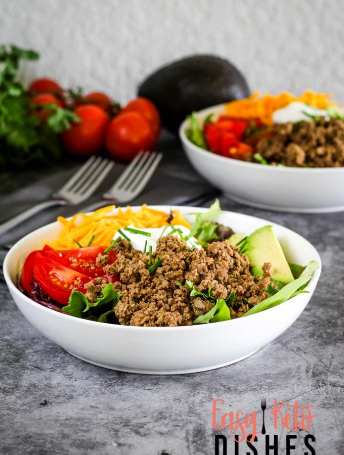 keto taco salad in white bowl