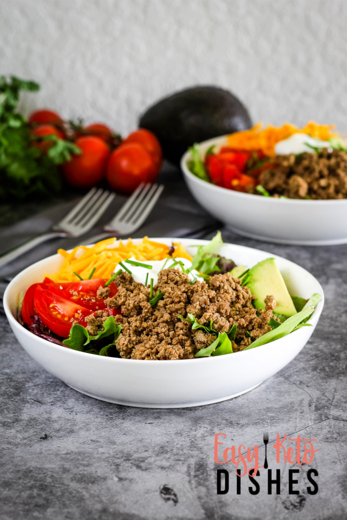 keto taco salad in white bowl